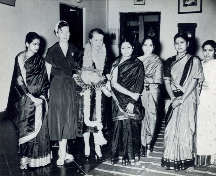 With Helen Keller. Also in picture niece Thangam at left, Kalki 's daughter Anandhi is next to Radha