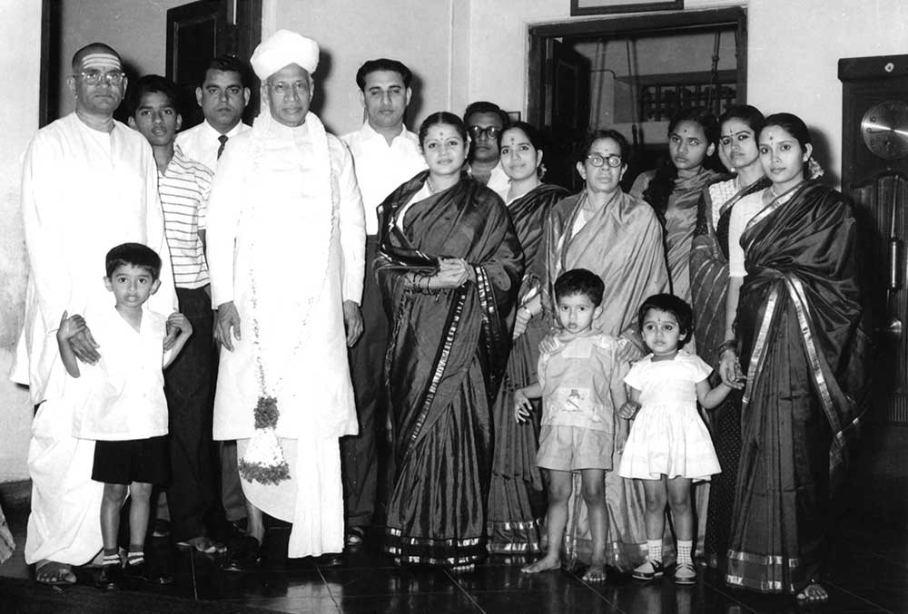 With President Radhakrishnan. Next to Sadasivam is his adopted son Thiagarajan