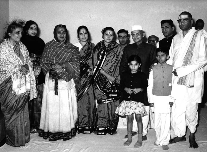 With Shri Lal Bahadur Sastri. Mrs Lakshmi Devadas Gandhi and her daughter Tara are in the left of the picture
