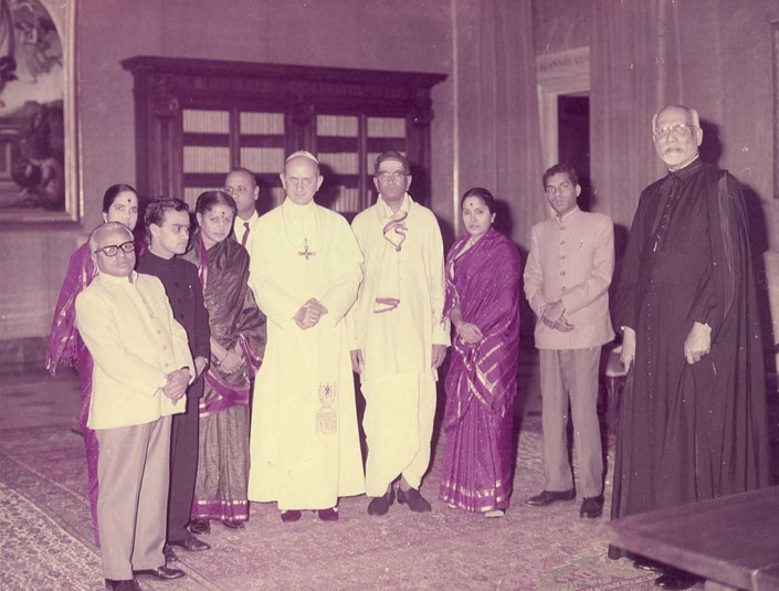 With Pope Paul VI at the Vatican in 1966. At extreme right is Father Jerome D'souza of Loyola College in Chennai