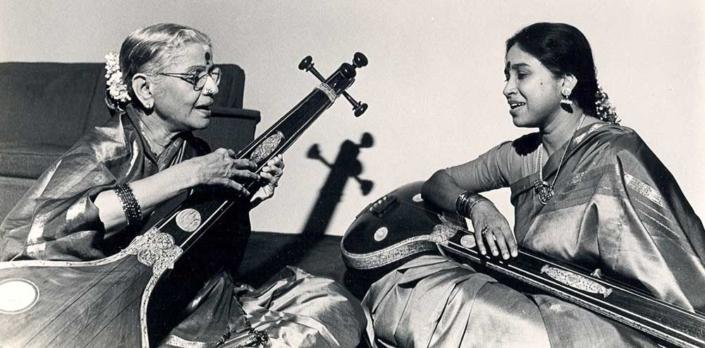 MS and Grand Niece Gowri do akaara practice while playing the tanpuras Sarasvati and Lakshmi