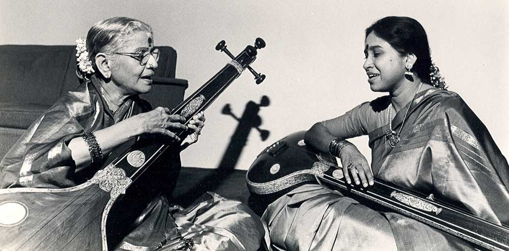 MS and Grand Niece Gowri do akaara practice while playing the tanpuras Sarasvati and Lakshmi